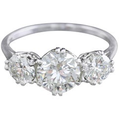 Platinum Edwardian Diamond Trilogy Ring 2.76 Carat Total