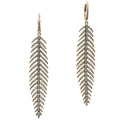 Modern Diamond 18 Karat Rose Gold Dangle Leaf Earrings