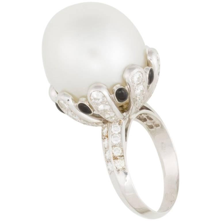 Ella Gafter Australian South Sea Pearl Diamond Onyx Gold Ring