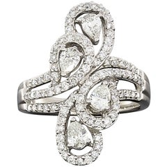Pear and Round Diamond Paisley Shapes White Gold Fashion Ring