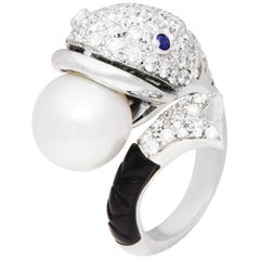 Ella Gafter Fish White Pearl Onyx and Diamond Art Deco Style White Gold Ring