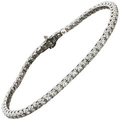2.25 Carat Round Diamond White Gold Tennis Line Bracelet