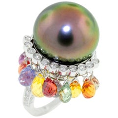 Ella Gafter Black Tahitian Pearl Sapphire Briolette and Diamond White Gold Ring
