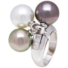 Ella Gafter White Pearl and Black Pearl Diamond White Gold Ring