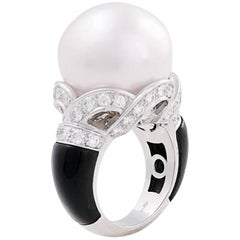 Ella Gafter South Sea Pearl Onyx and Diamond Art Deco Style White Gold Ring