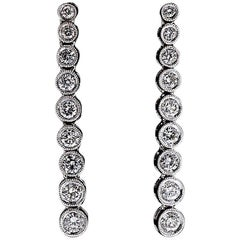 1.15 Carat Round Diamond Dangle Drop Line White Gold Earrings