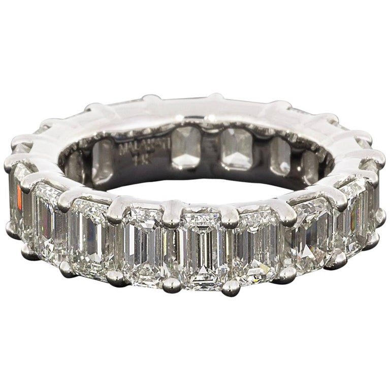 Magnificent Emerald Cut Diamond White Gold Eternity Band Ring