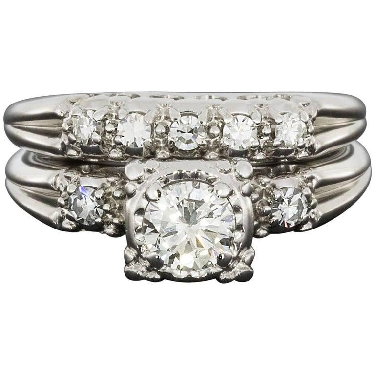Vintage Round Diamond White Gold Engagement Ring and Wedding Band Set