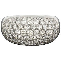 Pave Round Brilliant Diamond White Gold Dome Ring
