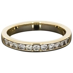 Round Brilliant Diamond Yellow Gold Channel Wedding Band Stack Ring