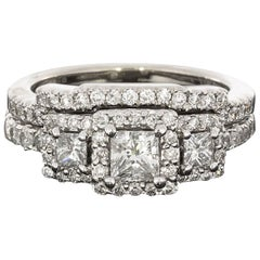 Princess Cut Diamond Three-Stone Halo Engagement Ring Wedding Band Set