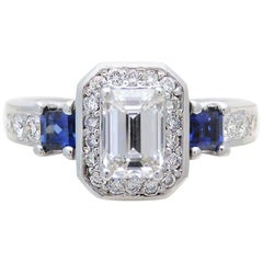 GIA Certified 14 Karat Emerald-Cut Diamond and Ceylon Sapphire Engagement Ring