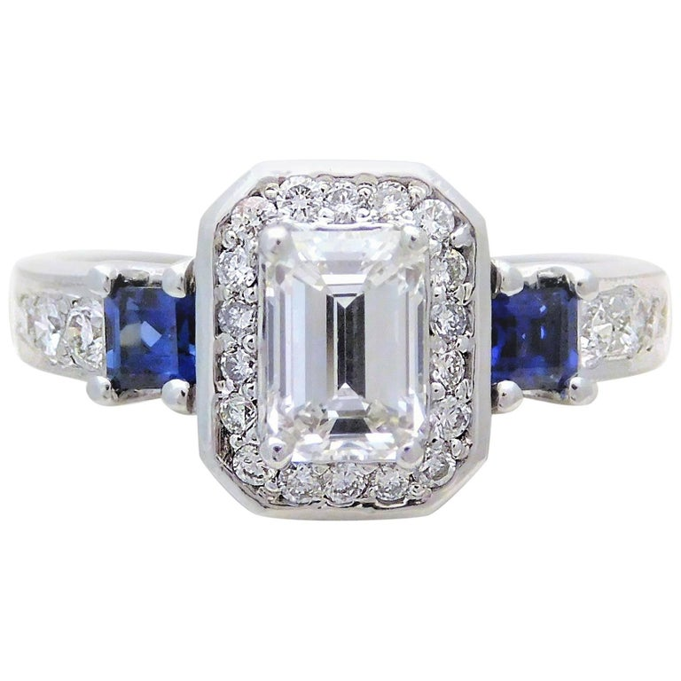 GIA Certified 14 Karat Emerald-Cut Diamond and Ceylon Sapphire Engagement Ring For Sale