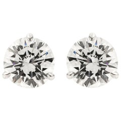 GIA Certified 4.09 Carat Total Diamond Stud Earrings