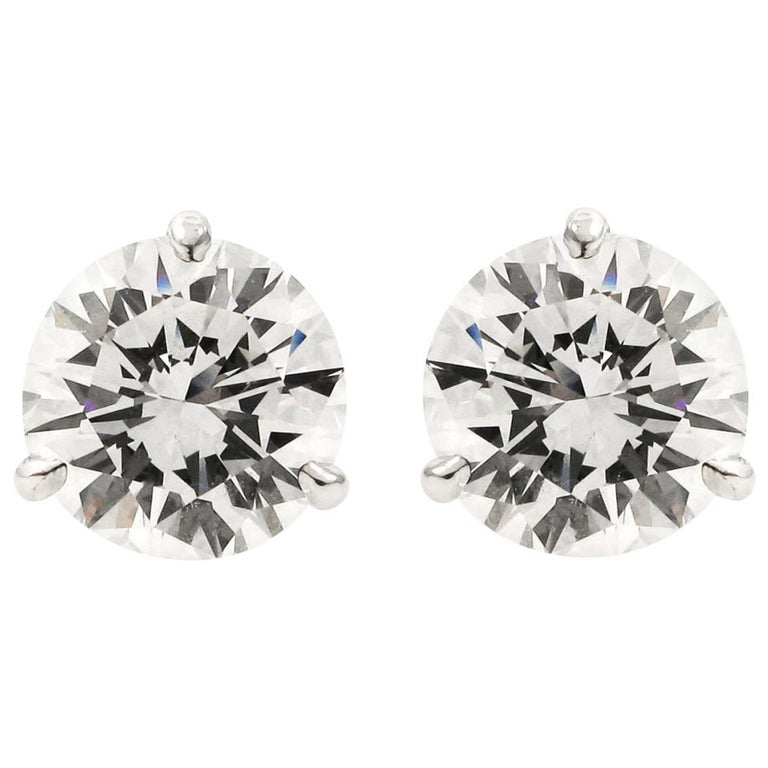 GIA Certified 4.09 Carat Total Diamond Stud Earrings
