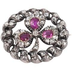 "Victorian Rose Diamond and Ruby ""Irish Shamrock"" Brooch"