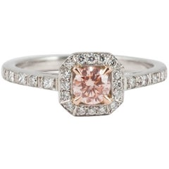 White and Pink Brilliant Cut Diamond Platinum Engagement Ring