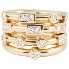 """18K Yellow Gold """"LOVE"""" Stacking Rings with Premium Cut F Color Diamond"""