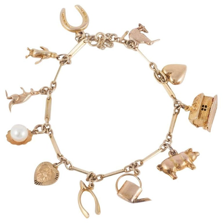 English 9 Carat Rose Gold Charm Bracelet