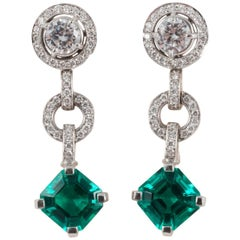 Diamond and Don't Waste Beauty Emerald and Diamond Multi Use Earrings