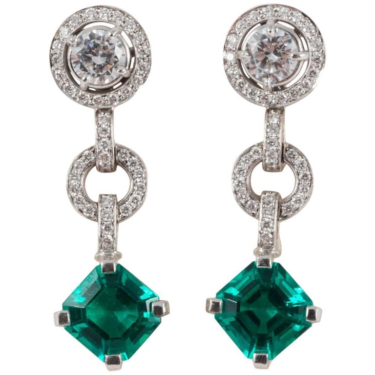 Diamond and Don't Waste Beauty Emerald and Diamond Multi Use Earrings For Sale