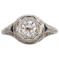 .36 Carat 18 Karat White Gold Diamond and Sapphire Engagement Ring