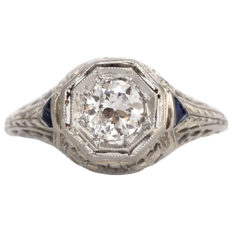 36 Carat 18 Karat White Gold Diamond and Sapphire Engagement Ring For Sale a