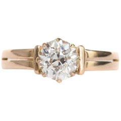 1.01 Carat 9 Karat Yellow Gold Diamond Engagement Ring