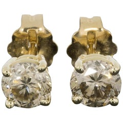 Champagne Round Brilliant Diamond Yellow Gold Stud Earrings