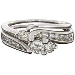 Round Diamond Bypass White Gold Engagement Ring Wedding Band Set
