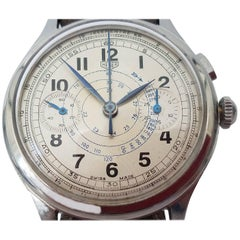 TAG Heuer by Ed Heuer Monopusher Chrono Blue Steel Hands Manual Wristwatch