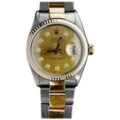 Rolex Yellow Gold Stainless Steel Diamond Datejust Oyster Bracelet Wristwatch