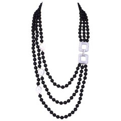 Decadent Jewels Multi Strand Matt Onyx Pearl Silver Necklace