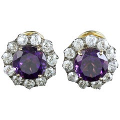 Edwardian Amethyst Diamond Earrings 18 Carat Gold 2.20 Carat Diamond