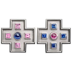 Sapphires and Rubellite White Gold Stud Earrings