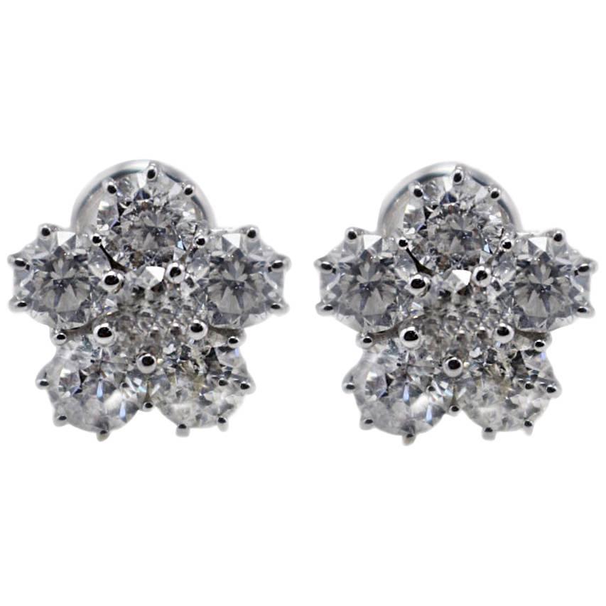 White Diamonds Flowers White Gold Stud Earrings