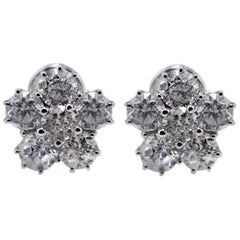 White Diamonds Flowers White Gold Stud Earrings