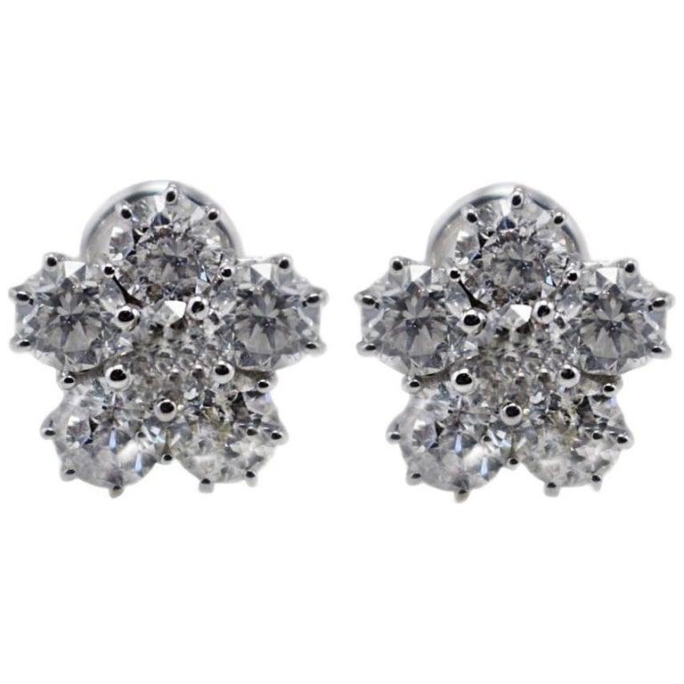 Diamond Daisy Stud Gold Earrings