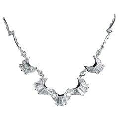 Art Deco Platinum Diamond Necklace 5 Carat of Baguette Diamonds