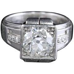 French Art Deco Platinum Diamond Ring 2.04 Carat
