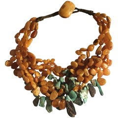 Baltic Antiques Yellow Amber and Turquoise Minsk Necklace