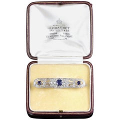 Edwardian French Sapphire Diamond Brooch Platinum J.Chaumet