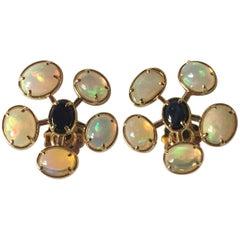Sea Urchin Earrings Opal Blu Sapphire Cabochon Gold