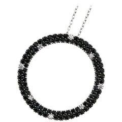 Roberto Coin Fantasia Round Diamond and Black Sapphire Pendant