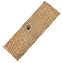 Ebel Yellow Gold Diamond Modernist Wide Mesh Style Mechanical Wristwatch