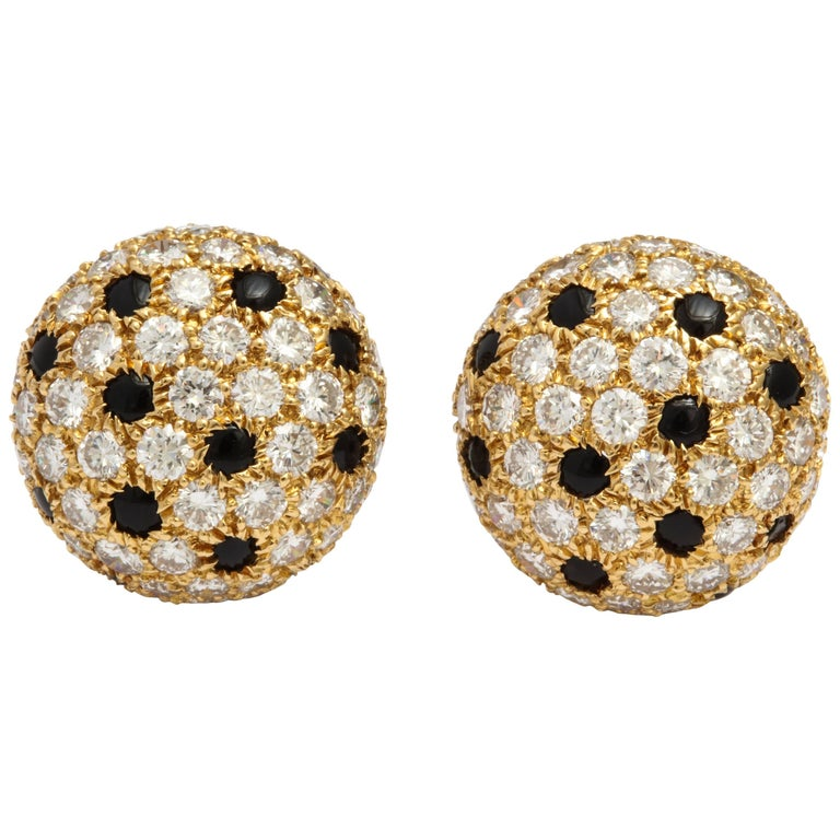 Cartier Gold Button 'Panthere' Onyx and Diamond Earrings