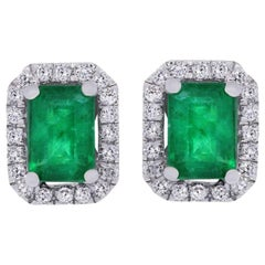 Emerald Cut Emerald and Diamond Halo Stud Earrings