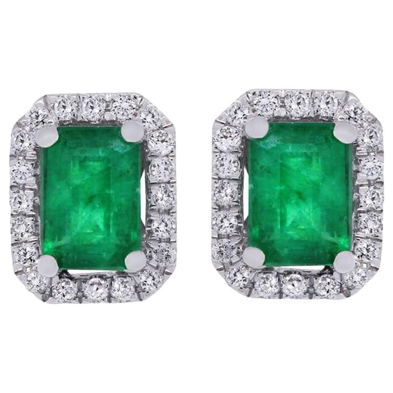 emerald cut stud earrings emerald cut emerald and halo stud earrings for 4627