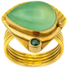 Vintage Pyramid Gold Ring with Green Garnet and Chalcedony