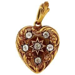 Art Nouveau Gold Diamond Engraved Heart Locket Pendant